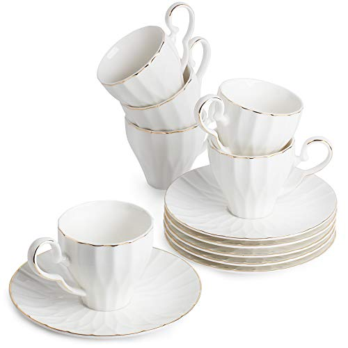 BTäT- Tea Cups and Saucers, Set of 6 (5 oz) with Gold Trim and Gift Box, Cappuccino Cups, Coffee Cups, White Tea Cup Set, British Coffee Cups, Porcelain Tea Set, Latte Cups, Espresso Mug, White Cups