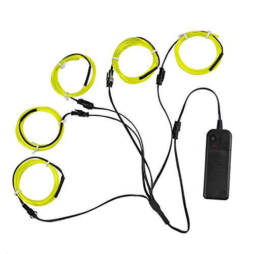 5x3.3ft(1M) Neon Light El Wire w/ Battery Pack for Parties Halloween Christmas Decoration (Lemon Green)