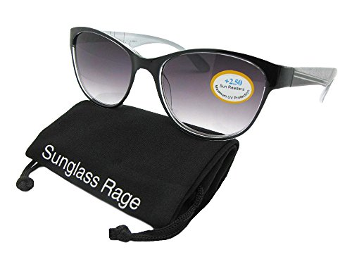 Women's Cat Eye Look Full Reader Sunglasses R88 (Black Frame-Non Polarized Gray Lenses, - See Sunglasses Look