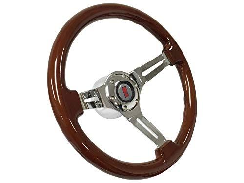 1969-1989 Oldsmobile S6 Mahogany Finish Steering Wheel Chrome Kit
