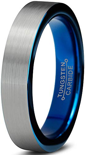 Charming Jewelers Tungsten Wedding Band Ring 4mm Men Women Comfort Fit Grey Blue Flat Cut Brushed Size 10 by Charming Jewelers