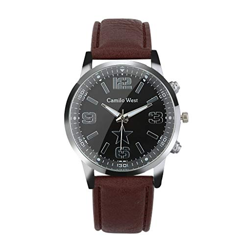 Business Watch for Men Analog and Digital,Londony❀♪ Boy's Fashion Business Quartz Watch with Brown Leather/Mesh Strap