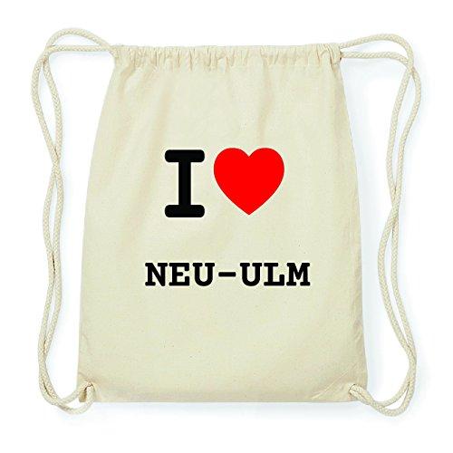 JOllify NEU-ULM Hipster Turnbeutel Tasche Rucksack aus Baumwolle - Farbe: natur Design: I love- Ich liebe 05VeETQxGI