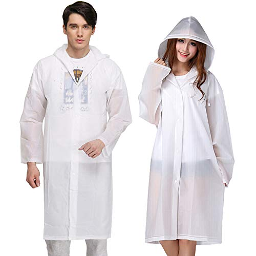 KKTICK Rain Poncho Reusable, 2 Pack Adult Raincoat with Hoods and Sleeves, Thicken Clear Ponchos for Men Women Teens, 45.2 x 24.8