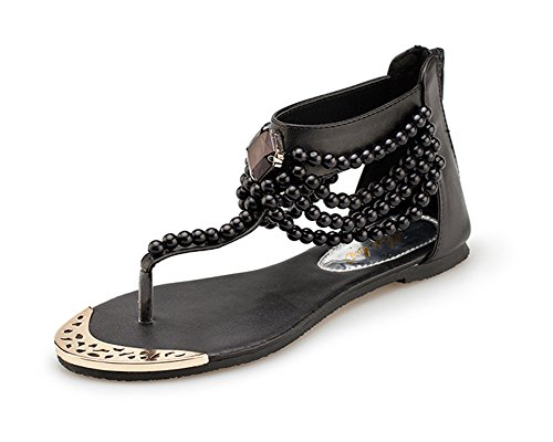 Bohême Chaussure Femme Glissière Plate À Perle Noir Voyage Herringbone Avec Fermeture Sandale qwRHRAxY