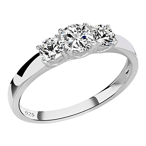 Sterling Silver Round Cubic Zirconia 3-Stone Ring Sz 7 (3 Stone Ring Design)