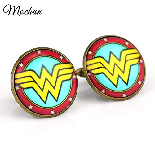FITIONS - DC Comics WONDER WOMAN Logo Glass Dome Enamel Cufflinks For Men And Women Wedding Jewelry