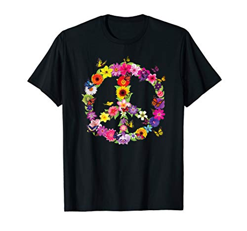 Butterfly Peace Sign Floral Flower Garden Nature T-Shirt