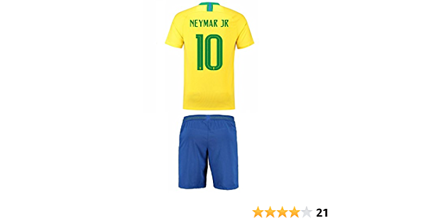Brazil Home NEYMAR Kids #10 Soccer Kit Jersey and FREE Shorts All Youth Sizes