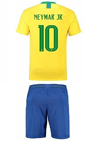 Brazil Home NEYMAR Kids #10 Soccer Kit Jersey and FREE Shorts All Youth Sizes (World Cup YM 8-10 yrs) ()
