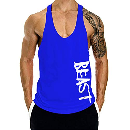 New York Giants Training Camp - Printed Shaped Training t Shirt Men's New Summer Fitness Vest Pure Cotton Top Outdoor t Shirt Blue