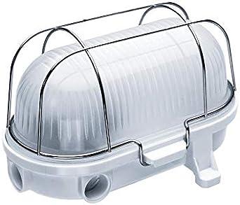 Oval 100, ES / E27, Lámpara de luz de mampara de techo/pared, IP54, baquelita blanca, jaula de acero, cubierta de vidrio mate, OVAL-100-E27-WBMGS: Amazon.es: Iluminación