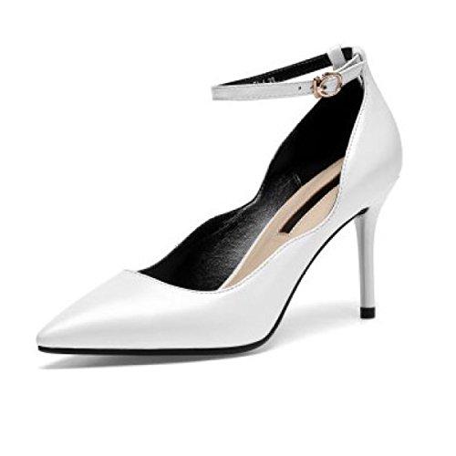 Zapatos De Tacón Alto Con Punta De Cuero De Mujer Zapatos De Tacón Alto Con Correa De Hebilla Zapatos De Fiesta De Boda Bombas Zapatos De Tacón Alto,White-EU:37/UK:4.5