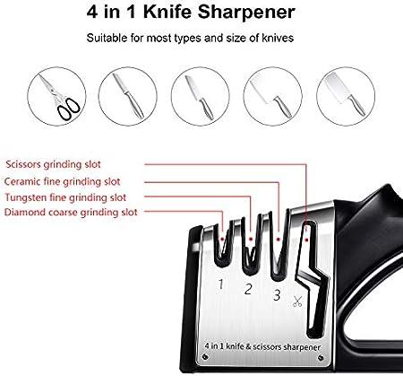 CaKoo Afilador de Cuchillos, 4 in 1 Afilador de Cuchillos Profesional con Base Antideslizante, Seguro y Fácil de Usar. (Negro)