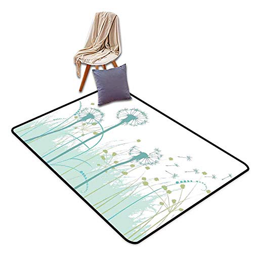 Bath Rug Spring Silhouette Dandelion Floral Foliage Seasonal Blooms Botany Eco Illustration Easy to Clean W55 xL79 Khaki Almond -