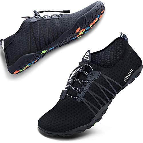 SIMARI Unisex Water Sports Shoes Barefoot Slip-on Indoor Outdoor Sports Activities Summer 206 Black 6W/5M