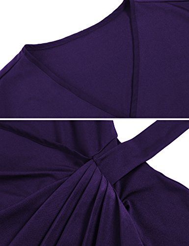 Draped Neck Tie Belt Women's Faux Wrap Cocktail V Dress Purple1 Mid Classic FineFolk 6IXtw