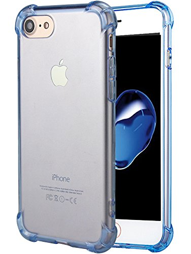 Case Crystal Blue Clear - iPhone 7 Case, iPhone 8 Case, Matone Apple iPhone 7/8 Crystal Clear Shock Absorption Technology Bumper Soft TPU Cover Case for iPhone 7 (2016)/iPhone 8 (2017) - (Clear Blue)