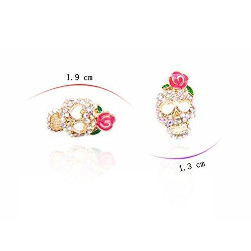 Girl Skeleton Fashion Pair Cute Stud Rhinestone Pink Rose Ear Earrings Skull
