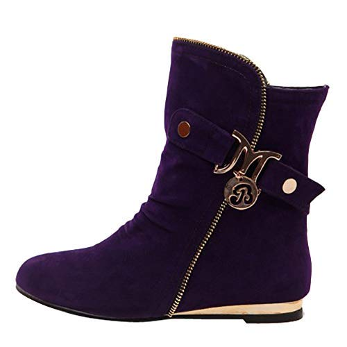 (Show Shine Women's Fashion Flats Boots Short Boots (9.5, Dark Purple))