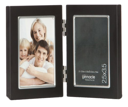 - Pinnacle Metal 2.5x3.5 Double Black and Silver Hinged Picture Frame