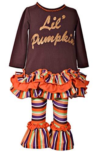 Baby Girls Cute Lil Pumpkin Bell Bottom Legging Set (6-9 Months)