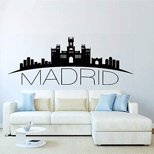 Crjzty España Madrid Skyline Tatuajes de Pared Silueta de la Ciudad Mural de Arte murales para la decoración del hogar Pegatinas de Vinilo 36 * 93 cm: Amazon.es: Hogar