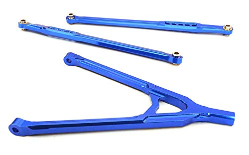 (Integy RC Model Hop-ups OBM-BR233008BLUE CNC Machined Aluminum Front Lower Chassis Linkages+Upper Y-Arm for Axial SCX-10)