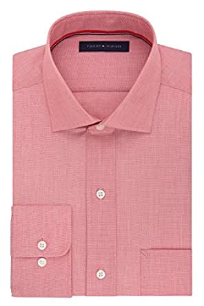 """Tommy Hilfiger Men's Non Iron Regular Fit Solid Spread Collar Dress Shirt, Tuscan Red, 18"""" Neck 34""""-35"""" Sleeve"""