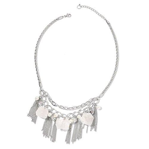 Shop LC White Crystal Quartz Chroma Crystal Silvertone Bib Fashion Pendant Necklace 20