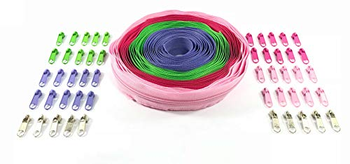 Nuburi - Zipper by The Yard - 10 Yards of Make Your Own Zipper - with Zipper Pulls (Hot Pink, Lavender, Bubble Gum, Spring Green)