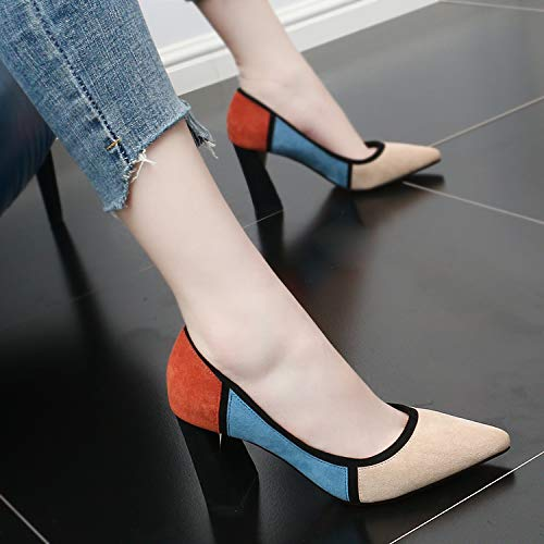 Shoe Fashionable Black Fashion High shoes Heel Sharp Autumn 8Cm Color Table Shallow Waterproof GTVERNH Matching Elegant Heel Pointed Spring Shoes women's And Temperament Single 4BqqgA