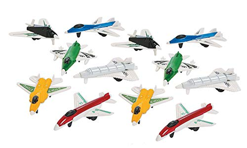Mini Airplanes - Pack of 12 - 2.25 Inches Assorted Colored Cool Jet Fighter Designs - for Kids Great Party Favors, Bag Stuffers, Fun, Toy, Gift, Prize - by Kidsco