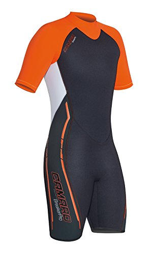 Camaro Men's Breaker Shorty Wetsuits, Black/Orange, Large/52 by Camaro