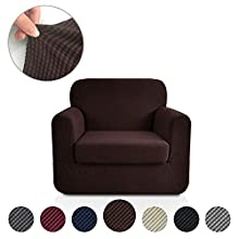 Rose Home Fashion Jacquard Stretch 2 Separate Pieces Chair Cover, Chair Slipcover with Separate Cushion Cover Couch-Polyester Spandex Sofa Slipcover&Couch Cover for Dogs(Chair: Chocolate)