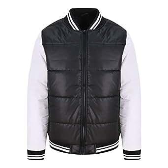 Awdis Just Hoods JH049 Unisex Varsity Puffer Jacket - Jet Black/White - 2XL