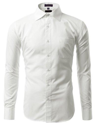 "IDARBI Mens Dress Shirt - Offwhite / 15.5 ""Neck 34/35""Sleeve"