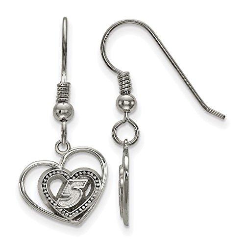 Stainless Steel LogoArt NASCAR # '5' Pierced Heart Pattern Charm Dangle Earrings -
