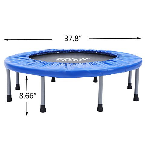 """Seatopia 38"""" Fitness Trampoline Bungee Rope System Silent Bounce Cardio Workout Trainer – Fun for Adults & Kids, Max load 220 lbs"""