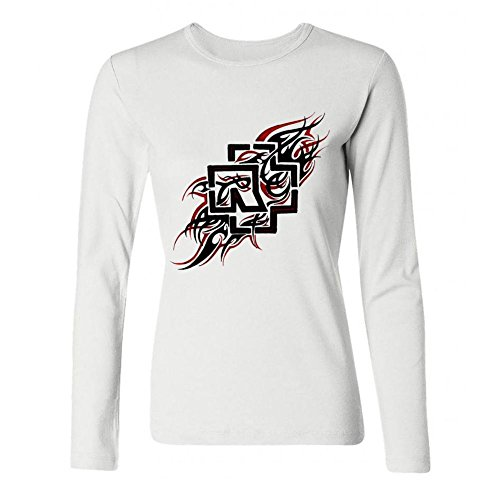 LSLEEVE Women's Authentic Rammstein Band Reise Logo Long Sleeve T-shirt White L