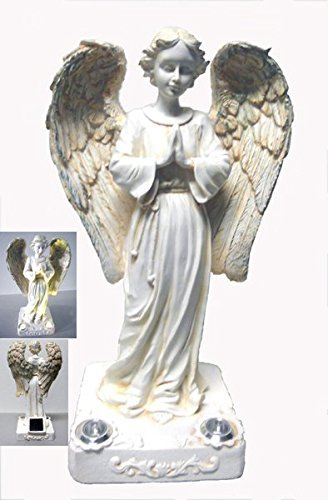(Decorative Outdoor Solar Powered Praying Angel Statue with 2 Yellow LED Lights.)