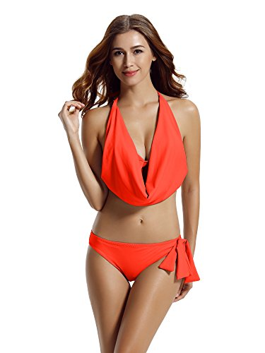 zeraca Women's Hipster Halter Cowl Neck Bikini Bathing Suits (M10, Fiely Coral)
