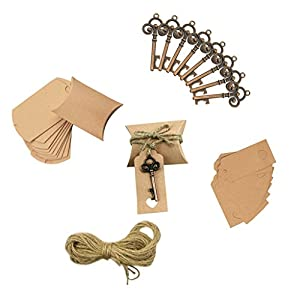 Homyl Pieces of Alloy Antique Bronze Key Shape Beer Bottle Opener with Tags Party Favor