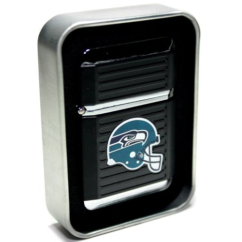NFL Seattle Seahawks Refillable Butane Torch Lighter with Tin Gift Box - Factory New - 2 1/4 Inch Height