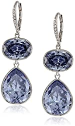 CZ by Kenneth Jay Lane Rhodium-Plated Cubic Zirconia Lever-Back Drop Earrings, 46 CTTW