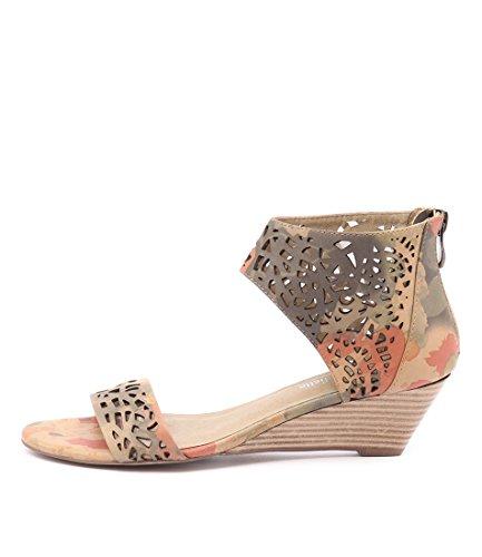 DJANGO & JULIETTE Marry Womens Shoes Medium Heels Summer Wedges CAMEL MULTI LEATHER