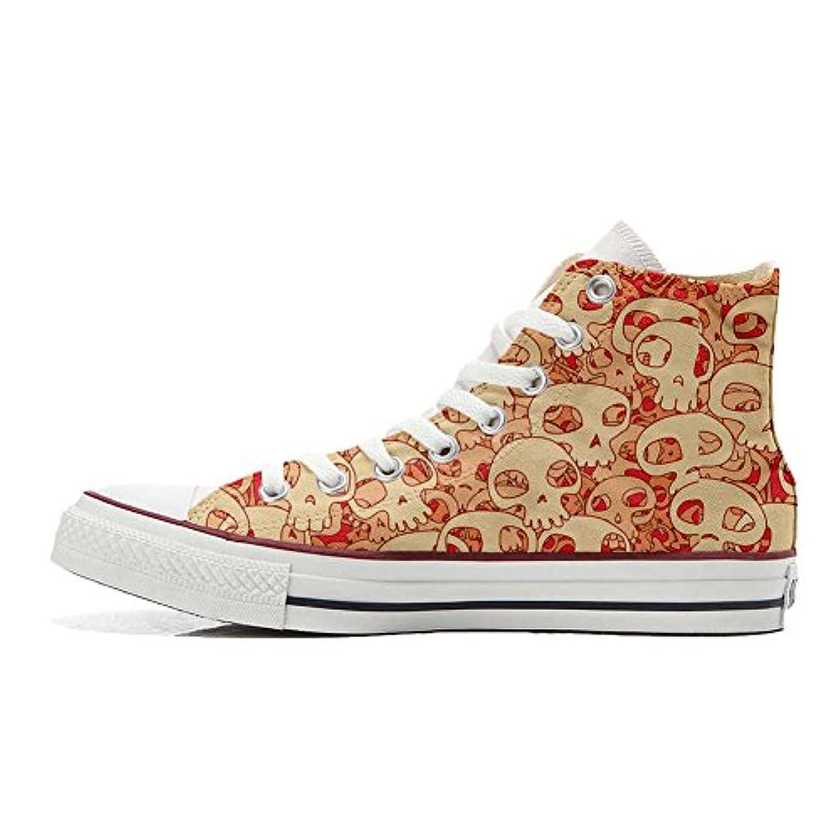 Converse Personalizzate All Star Sneaker Unisex prodotto Artigianale Orange Skull Size 41 Eu