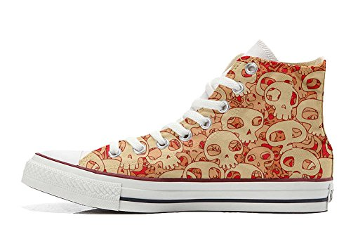 Star Orange All Skull Hi Converse Customized Schuhe personalisierte Handwerk Schuhe 5S1ngqc4