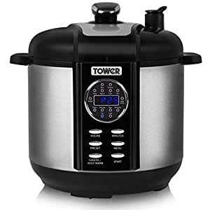 Tower Pro T16008 Digital and Pressure Smoker and Multi Cooker, 1000 W, 6 Litre