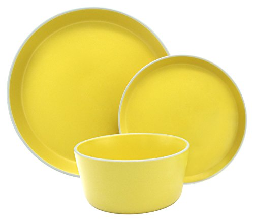(Melange Stoneware 18-Piece Dinnerware Set (Moderno Sunflower) | Service for 6| Microwave, Dishwasher & Oven Safe | Dinner Plate, Salad Plate & Soup Bowl (6 Each))